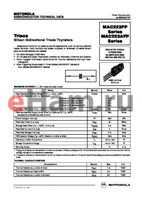 MAC223A10FP datasheet - Silicon Bidirectional Triode Thyristors