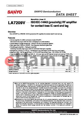 LA7209V datasheet - Monolithic Linear IC ISO/IEC-14443 (proximity) RF amplifier for contact-less IC card and tag