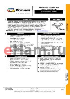 JANTX1N2806A datasheet - 50 Watt Zener Diodes