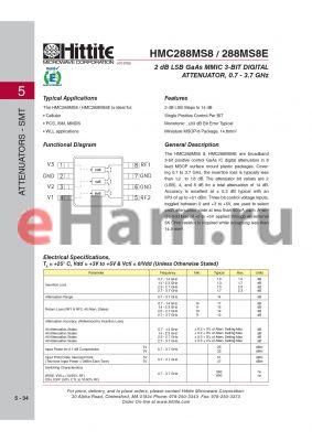 HMC288MS8 datasheet - 2 dB LSB GaAs MMIC 3-BIT DIGITAL ATTENUATOR, 0.7 - 3.7 GHz