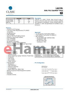 LAA120LS datasheet - DUAL POLE OptoMOS Relay