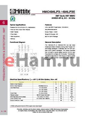 HMC494LP3 datasheet - SMT GaAs HBT MMIC DIVIDE-BY-8, DC - 18 GHz