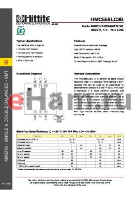 HMC558LC3B datasheet - GaAs MMIC FUNDAMENTAL MIXER, 5.5 - 14.0 GHz
