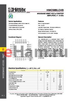 HMC586LC4B_10 datasheet - WIDEBAND MMIC VCO w/ BUFFER AMPLIFIER, 4 - 8 GHz