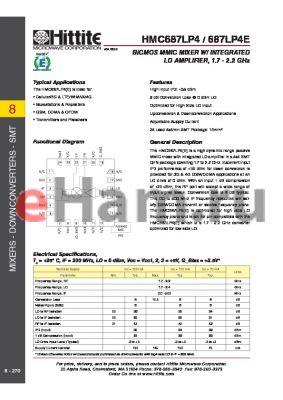 HMC687LP4E datasheet - BiCMOS MMIC MIXER W/ INTEGRATED LO AMPLIFIER, 1.7 - 2.2 GHz
