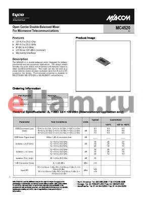 MC4520 datasheet - Open Carrier Double-Balanced Mixer For Microwave Telecommunications