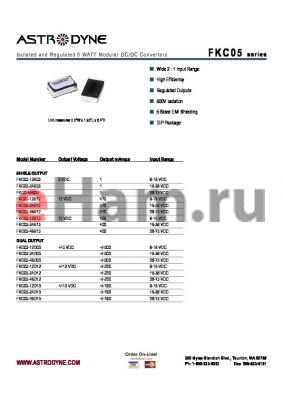 FKC05-48S12 datasheet - Isolated and Regulated 5 WATT Modular DC/DC Converters