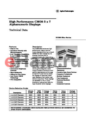 HCMS-2972 datasheet - High Performance CMOS 5 x 7 Alphanumeric Displays