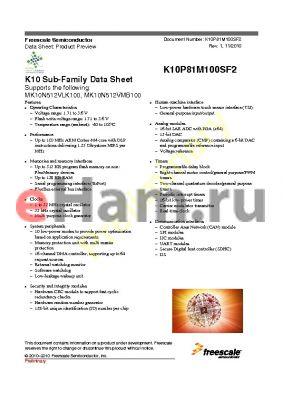MK10X64VFT150R datasheet - K10 Sub-Family Data Sheet