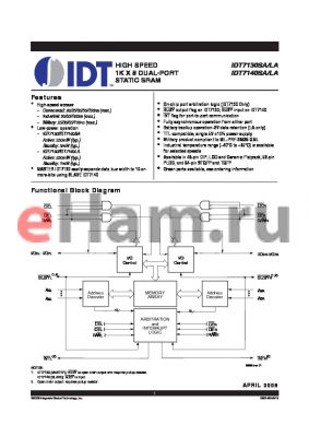 IDT7140LA100PFG datasheet - HIGH SPEED 1K X 8 DUAL-PORT STATIC SRAM