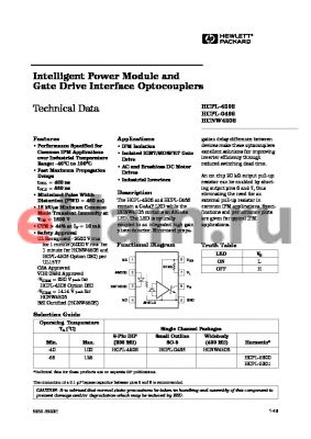 HCPL-5301 datasheet - Intelligent Power Module and Gate Drive Interface Optocouplers