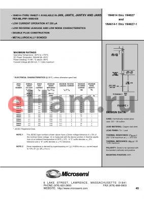 JANTX1N4615D-1 datasheet - Hermetically sealed glass case. DO - 35 outline.