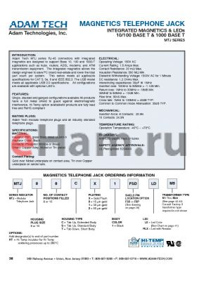 MTJ810S11LXM20 datasheet - MAGNETICS TELEPHONE JACK INTEGRATED MAGNETICS & LEDs 10/100 BASE T & 1000 BASE T
