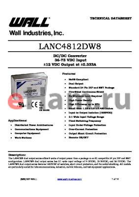 LANC4812DW8 datasheet - DC/DC Converter 36-75 VDC Input a12 VDC Output at a0.333A