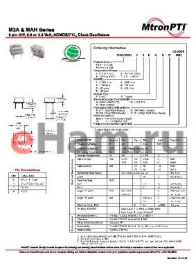 MAH76TBD datasheet - 8 pin DIP, 5.0 or 3.3 Volt, ACMOS/TTL, Clock Oscillators
