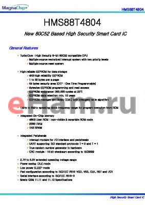 HMS88T4804 datasheet - New 80C52 Based High Security Smart Card IC