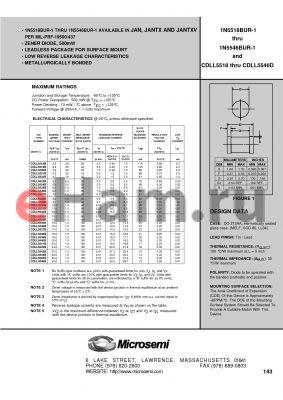 JANTX1N5537C-1 datasheet - LEADLESS PACKAGE FOR SURFACE MOUNT ZENER DIODE, 500mW
