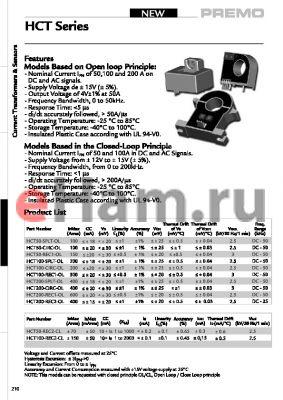 HCT50-REC2-OL datasheet - Current Transformers & Sensors