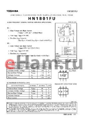 HN1B01FU datasheet - NPN EPITAXIAL TYPE (AUDIO FREQUENCY GENERAL PURPOSE AMPLIFIER APPLICATIONS)