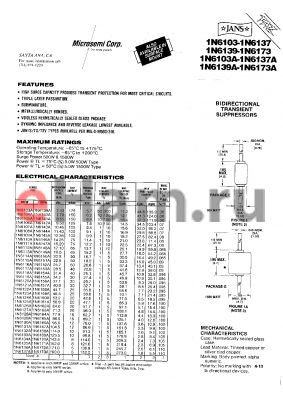 JANTX1N6165AUS datasheet - BIDIRECTIONAL TRANSIENT SUPPRESSORS