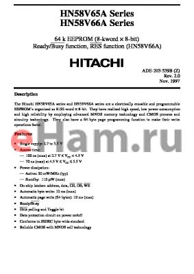 HN58V66AFP-10 datasheet - 64 k EEPROM (8-kword x 8-bit) Ready/Busy function, RES function (HN58V66A)