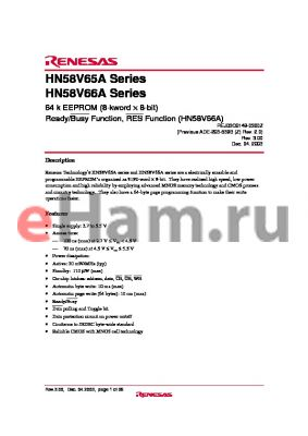 HN58V66AFP-10E datasheet - 64 k EEPROM (8-kword ‡ 8-bit) Ready/Busy Function, RES Function (HN58V66A)