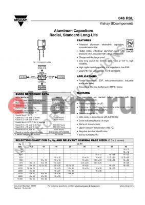 MAL204651102E3 datasheet - Aluminum Capacitors Radial, Standard Long-Life