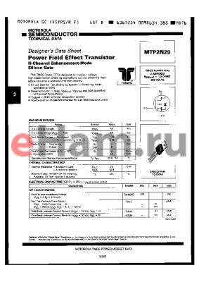 MTP2N20 datasheet - POWER FIELD EFFECT TRANSISTOR, N-CHANNEL ENHANCEMENT-MODE SILICON GATE
