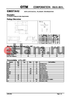 GMBTA42 datasheet - NPN EPITAXIAL PLANAR TRANSISTOR