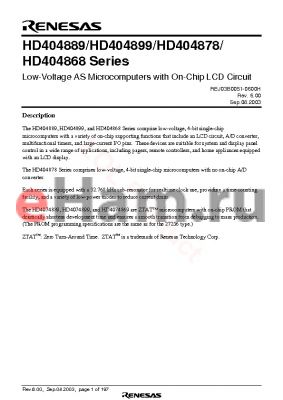 HD4074889TE datasheet - Low-Voltage AS Microcomputers with On-Chip LCD Circuit