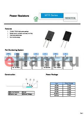 MTR20KBG1001-H datasheet - Power Resistors