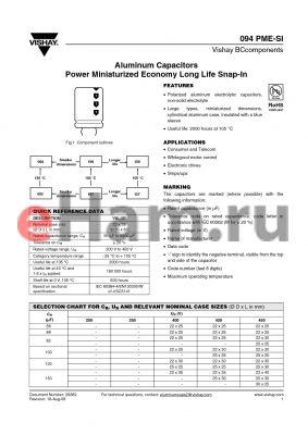 MAL209436221E3 datasheet - Aluminum Capacitors Power Miniaturized Economy Long Life Snap-In