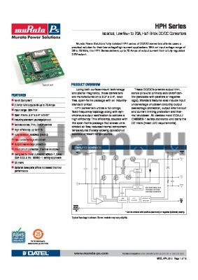 HPH-3.3/70-D48PBL2C datasheet - Isolated, Low VOUT to 70A, Half-Brick DC/DC Converters