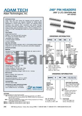 HPH1A10UB datasheet - .050 PIN HEADERS .050 [1.27] CENTERLINE