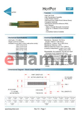 HPL01701031ST datasheet - High Life Cycle, High Temperature Capability