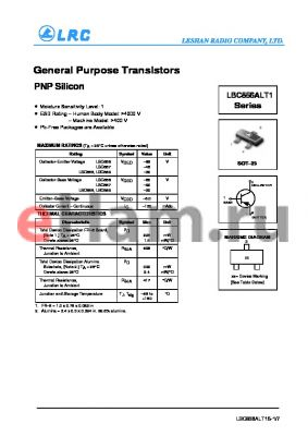 LBC858CLT1 datasheet - General Purpose Transistors PNP Silicon