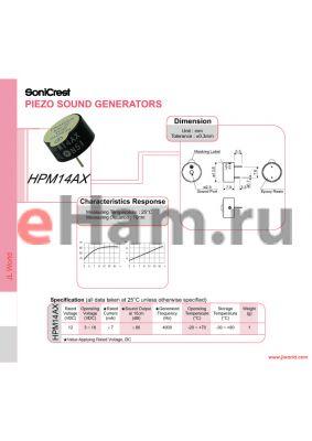 HPM14AX datasheet - PIEZO SOUND GENERATORS