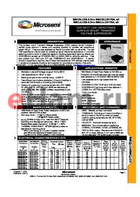 JANTXMVSMCGLCE160TR datasheet - 1500 WATT LOW CAPACITANCE SURFACE MOUNT TRANSIENT VOLTAGE SUPPRESSOR
