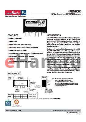 HPR1018C datasheet - 1.0 WATT UNREGULATED, SIP DC/DC CONVERTER