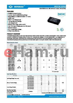 MKW10-48S051M datasheet - DC/DC CONVERTER 10W, Reinforced Insulation, Medical Safety