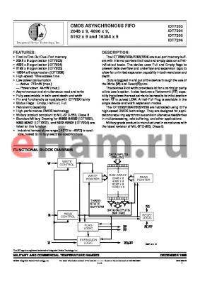 IDT7206S40D datasheet - CMOS ASYNCHRONOUS FIFO 2048 x 9, 4096 x 9, 8192 x 9 and 16384 x 9