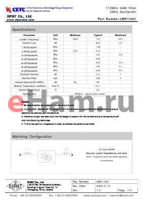 LBS11001 datasheet - 110MHz SAW Filter 2MHz Bandwidth