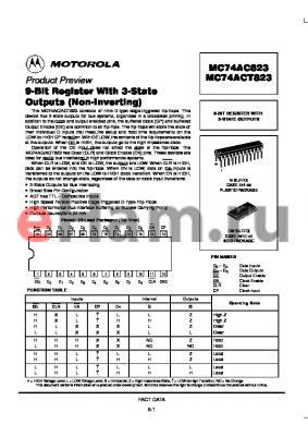 MC74ACT823 datasheet - 9-BIT REGISTER WITH 3-STATE OUTPUTS (Non-Inverting)