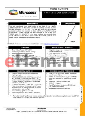 JANTXV1N3033UR-1 datasheet - 1 WATT METAL CASE ZENER DIODES
