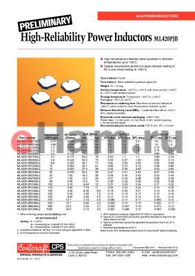ML420PJB334MLZ datasheet - High-Reliability Power Inductors