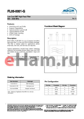 FL05-0001SAM datasheet - Low Cost SMT High Pass Filter 800 - 3000 MHz