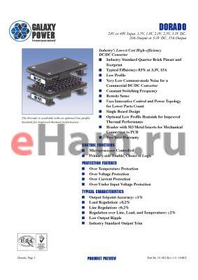 GPDC2V520RSSRT001 datasheet - DORADO 24V or 48V Input, 1.5V, 1.8V, 2.0V, 2.5V, 3.3V DC, 20A Output or 5.0V DC, 15A Output