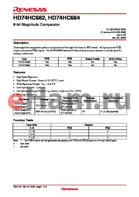 HD74HC684RPEL datasheet - 8-bit Magnitude Comparator