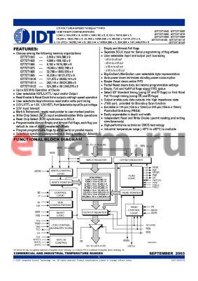 IDT72T1845L4-4BB datasheet - 2.5 VOLT HIGH-SPEED TeraSync FIFO 18-BIT/9-BIT CONFIGURATIONS