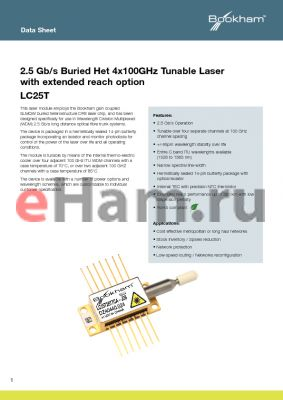 LC25TEAJ34 datasheet - 2.5 Gb/s Buried Het 4x100GHz Tunable Laser with extended reach option